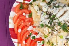 Pastas con los mariscos Fotografía de archivo libre de regalías