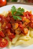 Pastas con los tomates Foto de archivo libre de regalías