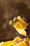 Pastas con tocino Imagen de archivo libre de regalías