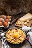 Pastas con tocino, el huevo y el queso imágenes de archivo libres de regalías