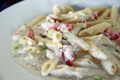 Pastas de Alfredo del cangrejo Foto de archivo
