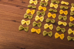 Pastas de Farfalle Fotos de archivo