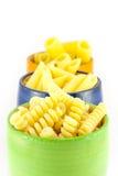 Pastas de Fusilli, del rigatoni y de las plumas Imagen de archivo libre de regalías