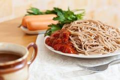 Pastas de los espaguetis Foto de archivo libre de regalías