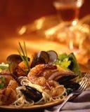 Pastas de los mariscos foto de archivo libre de regalías