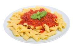 Pastas de Rigatoni y salsa de tomate fotografía de archivo libre de regalías