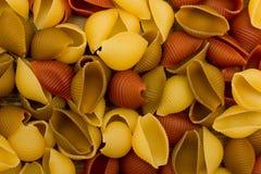 Pastas de Shell en la opinión de sobremesa de madera Fotografía de archivo libre de regalías