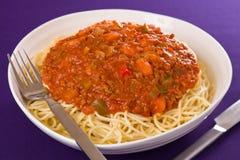 Pastas del espagueti de la salsa de la carne Foto de archivo libre de regalías