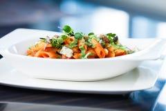 Pastas del tomate con carne de vaca Imágenes de archivo libres de regalías