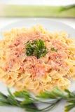 Pastas Farfalle con la salsa de color salmón Foto de archivo libre de regalías