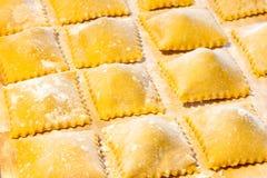 Pastas frescas de Agnolotti Foto de archivo libre de regalías