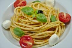 Pastas frescas sabrosas con la mozzarella, la albahaca y tomates foto de archivo libre de regalías