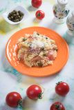 Pastas italianas con el prosciutto Fotos de archivo