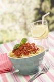 Pastas italianas con la salsa de tomate Fotos de archivo