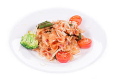 Pastas italianas con la salsa de tomate Imagen de archivo