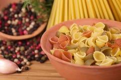 Pastas italianas con las especias y el ajo Imagenes de archivo