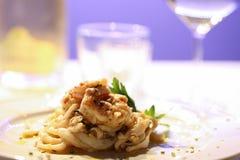 Pastas italianas de los pescados Foto de archivo libre de regalías