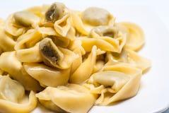 Pastas italianas de los raviolis en la placa blanca Fotos de archivo libres de regalías