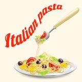 Pastas italianas en una placa con una bifurcación stock de ilustración