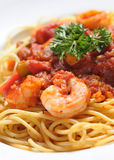 Pastas italianas - espagueti de la gamba Imagen de archivo libre de regalías
