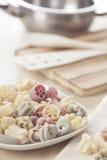 Pastas italianas listas para guisar Imagenes de archivo