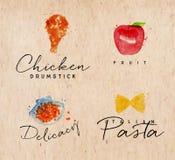 Pastas Kraft de la etiqueta de la acuarela ilustración del vector