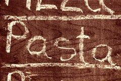 PASTAS manuscritas de la inscripción con tiza fotografía de archivo libre de regalías