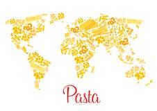 Pastas o mapa del mundo italiano del vector de los macarrones Foto de archivo libre de regalías