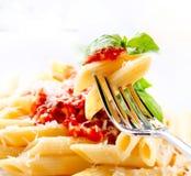 Pastas Penne con la salsa boloñesa Imagen de archivo libre de regalías