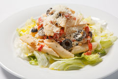 Pastas Penne Pasta con la salsa, el queso parmesano y el lettice boloñeses Cocina italiana Alimento mediterráneo Fotos de archivo