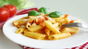 Pastas Penne Tomato Sauce Fotografía de archivo libre de regalías