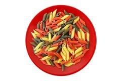 Pastas tricoloras del penne Imagen de archivo