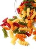 Pastas tricoloras en blanco Imagenes de archivo