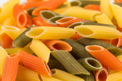 Pastas tricolores del penne Fotografía de archivo libre de regalías