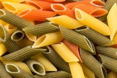 Pastas tricolores del penne Fotos de archivo