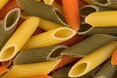 Pastas tricolores del penne Imagen de archivo libre de regalías