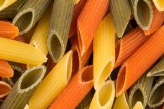 Pastas tricolores del penne Imagenes de archivo