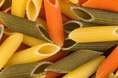 Pastas tricolores del penne Foto de archivo