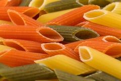 Pastas tricolores del penne Fotografía de archivo