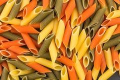 Pastas tricolores del penne Imagen de archivo