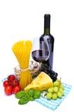 Pastas y vino Imagen de archivo libre de regalías
