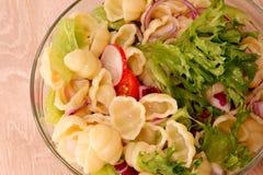 Pastasallad med gnocchi och grönsaker tjänade som i en exponeringsglasbunke royaltyfria bilder