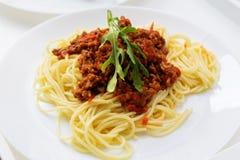 Pastaspagettimaträtt Arkivfoton