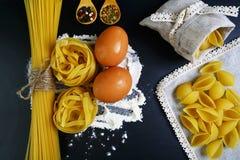 Pastatagliatelle, spagetti, italienska foods begrepp och menydesign, kryddor på träskedar, skal i en påse, rå ägg och mjöl royaltyfri bild