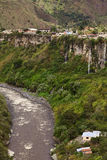 The Pastaza River and the Small Town of Banos in Ecuador Stock Photo