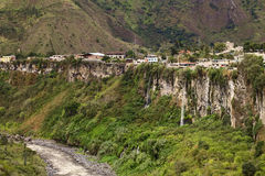The Pastaza River and the Small Town of Banos in Ecuador Royalty Free Stock Photo