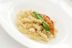 Paste. Appetizing Italian meal on a white plate Stock Image