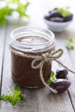 Paste from black olives. Cretan cuisine Royalty Free Stock Photos