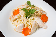 Paste Fettuccine with seafood Royalty Free Stock Image