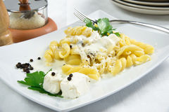 Paste with gorgonzola cream Royalty Free Stock Photography
